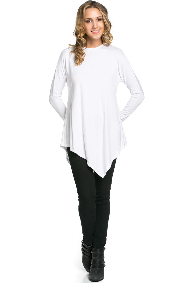Long Sleeve Handkerchief Hem Tunic Top White - Tunic - My Yuccie - 4