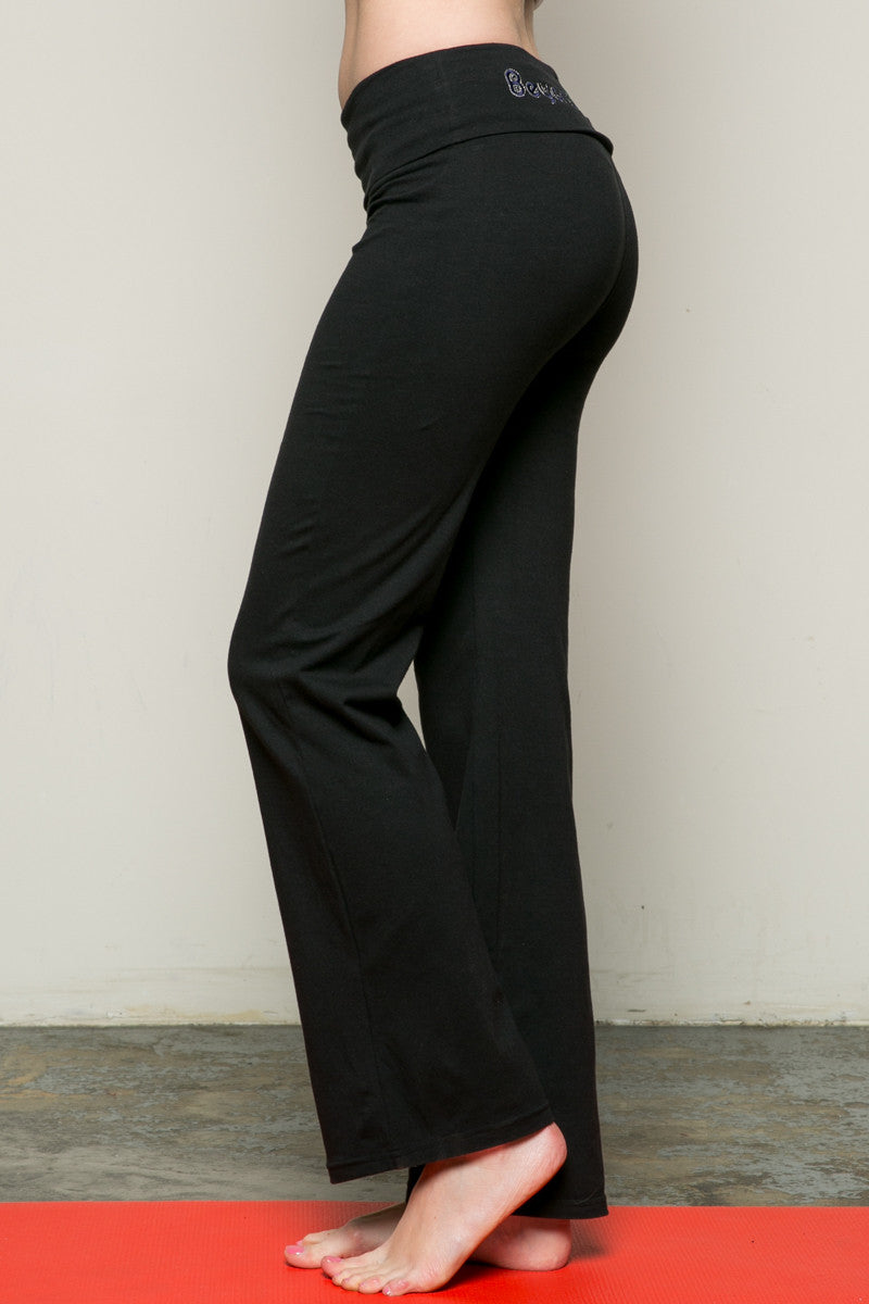 Casual Straight Leg Yoga Pants Black - Pants - My Yuccie - 2
