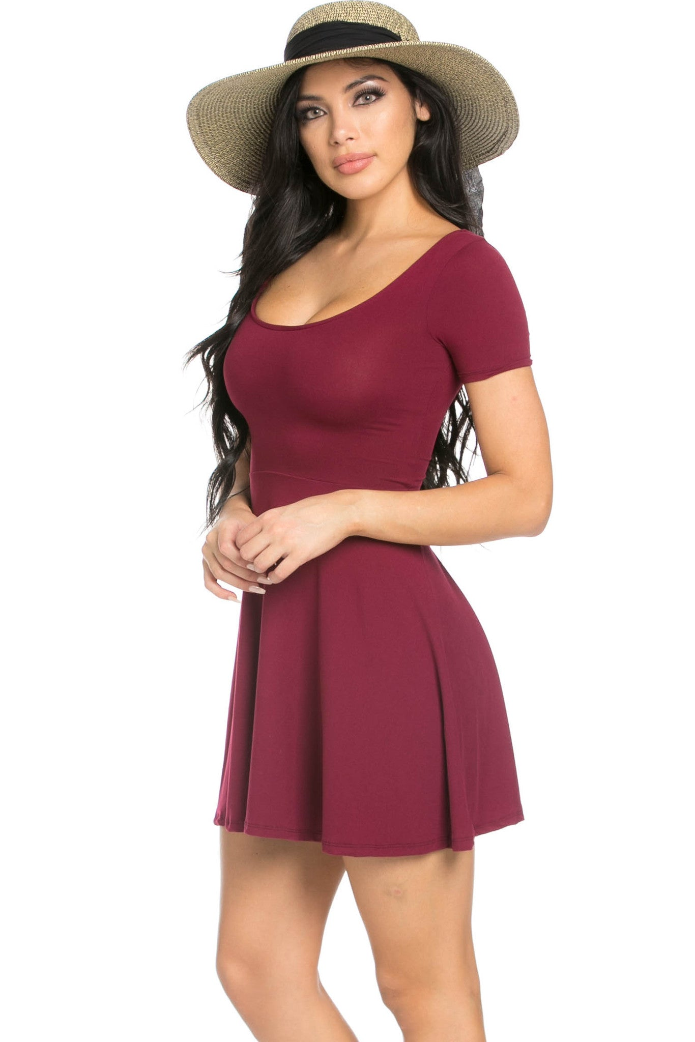 Micro Suede Burgundy Mini Dress - Dresses - My Yuccie - 2