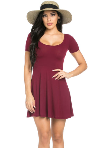 Micro Suede Burgundy Mini Dress - Dresses - My Yuccie - 1