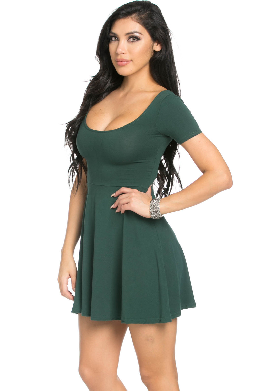 Micro Suede Green Mini Dress - Dresses - My Yuccie - 2
