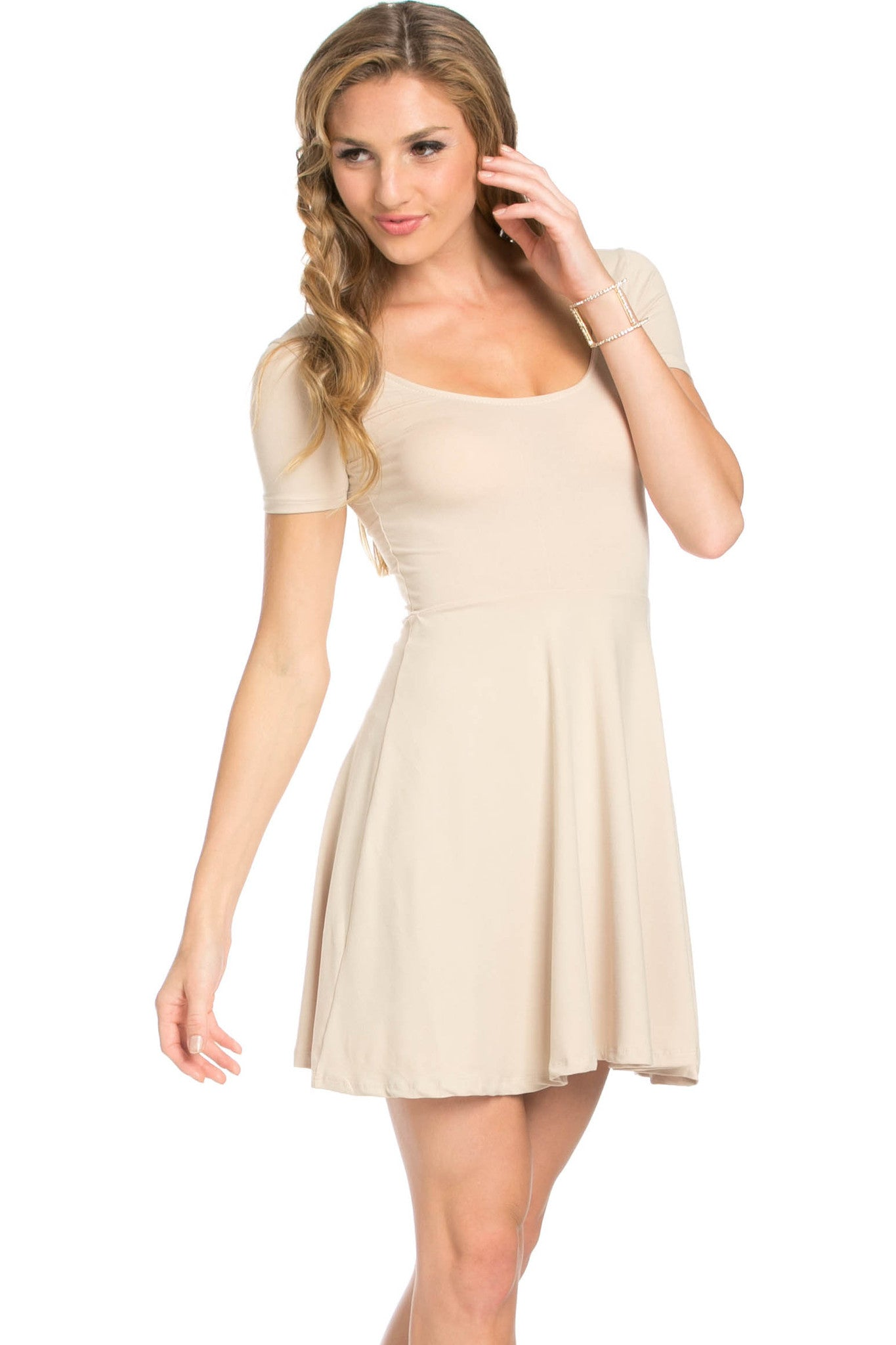 Micro Suede Khaki Mini Dress - Dresses - My Yuccie - 2