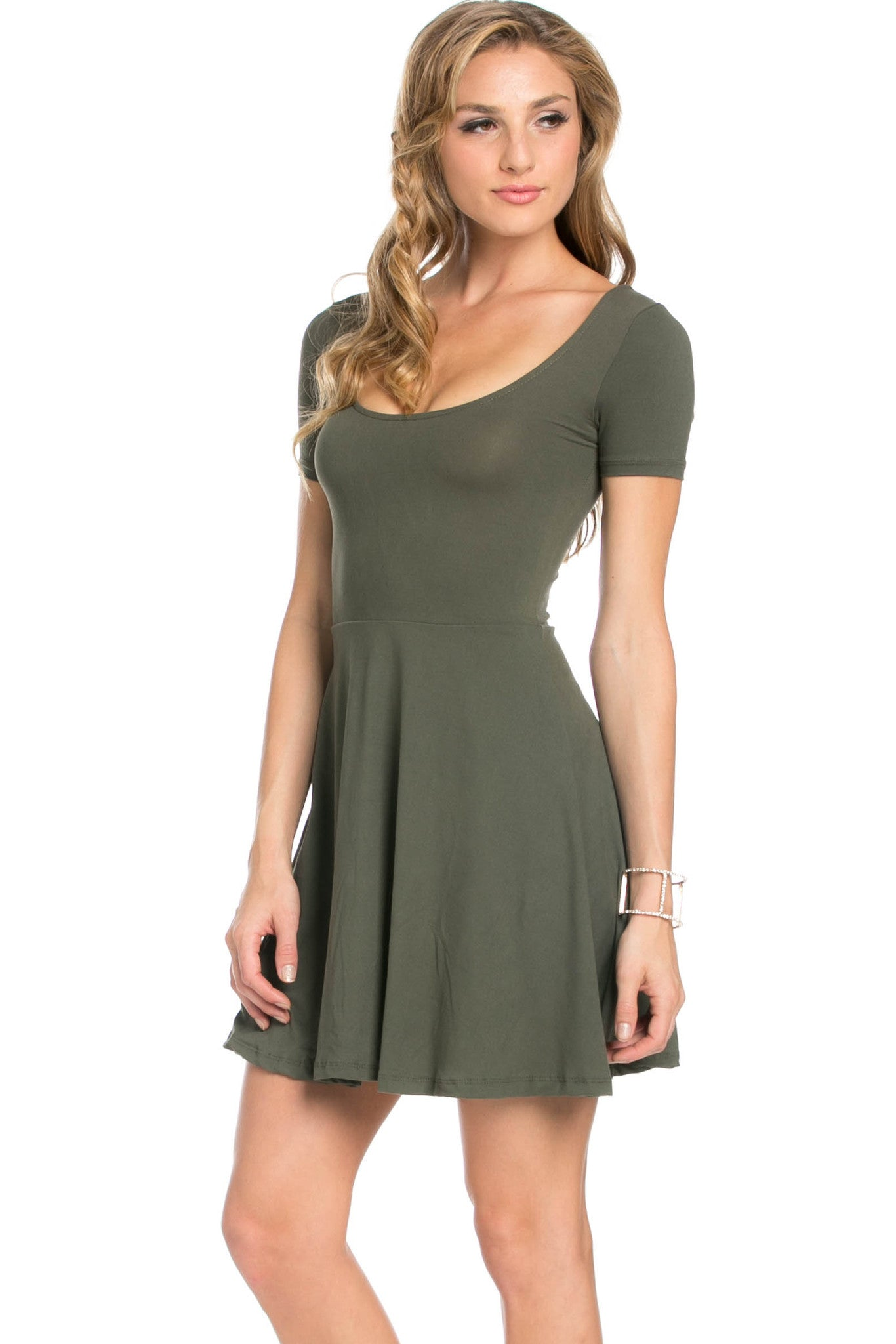 Micro Suede Olive Mini Dress - Dresses - My Yuccie - 1