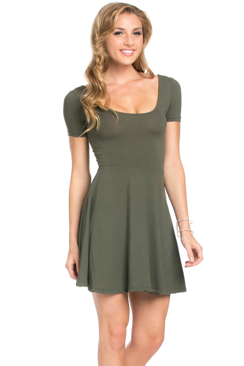 Micro Suede Olive Mini Dress - Dresses - My Yuccie - 4