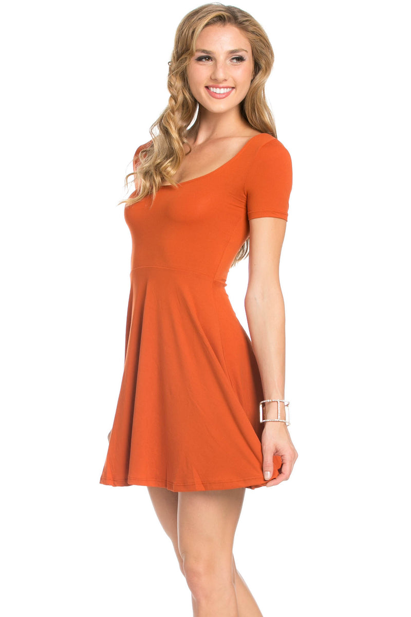 Micro Suede Rust Mini Dress - Dresses - My Yuccie - 1