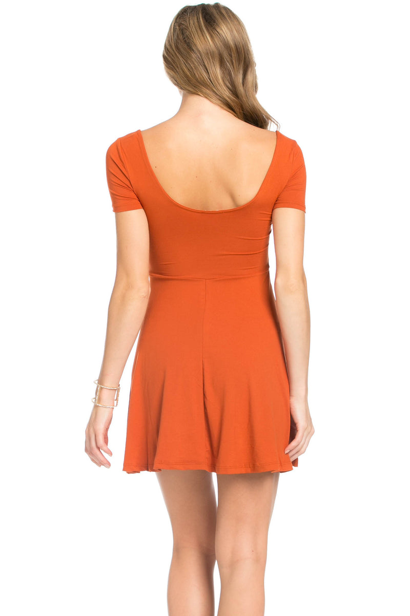 Micro Suede Rust Mini Dress - Dresses - My Yuccie - 3