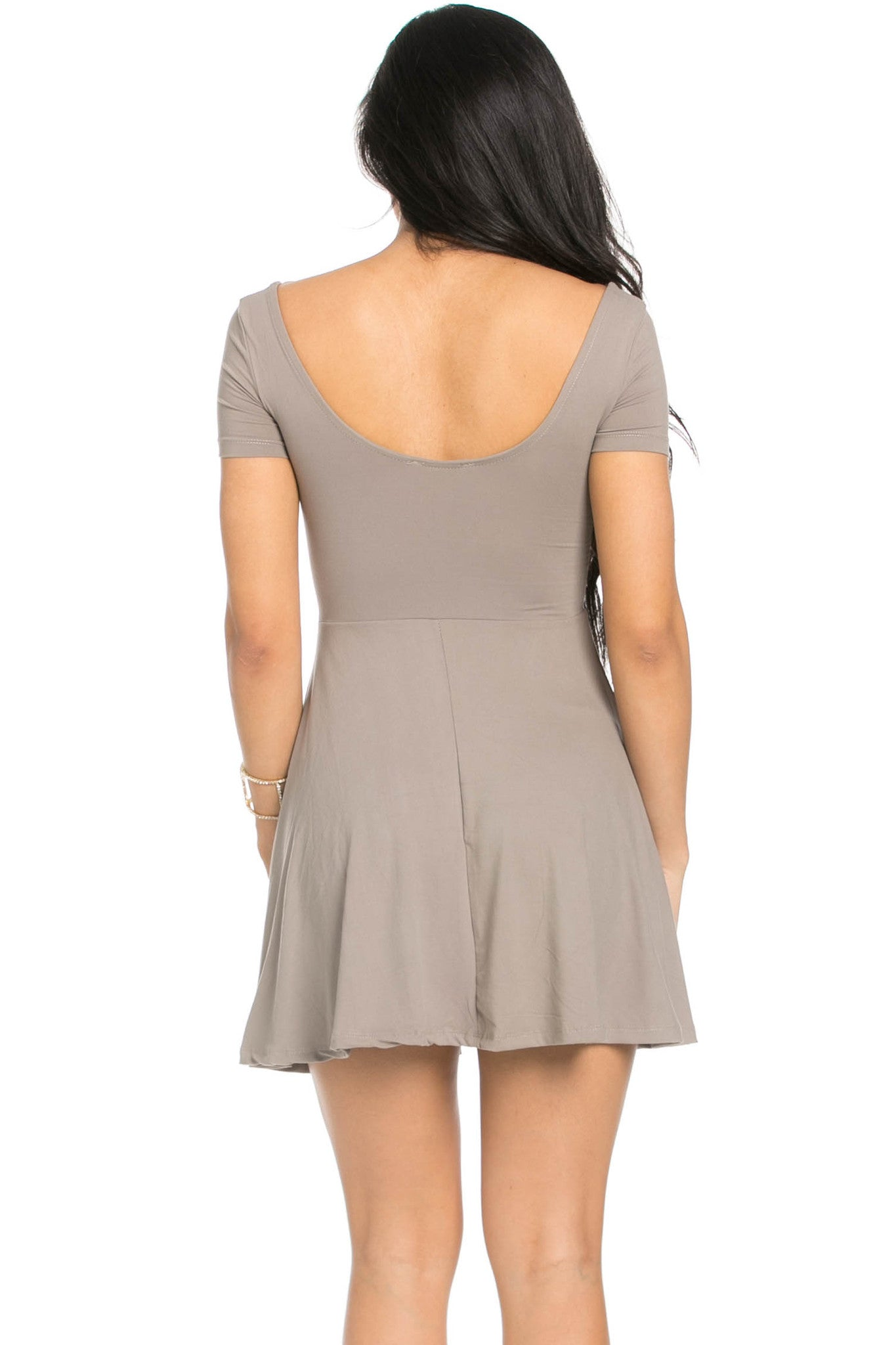 Micro Suede Taupe Mini Dress - Dresses - My Yuccie - 3