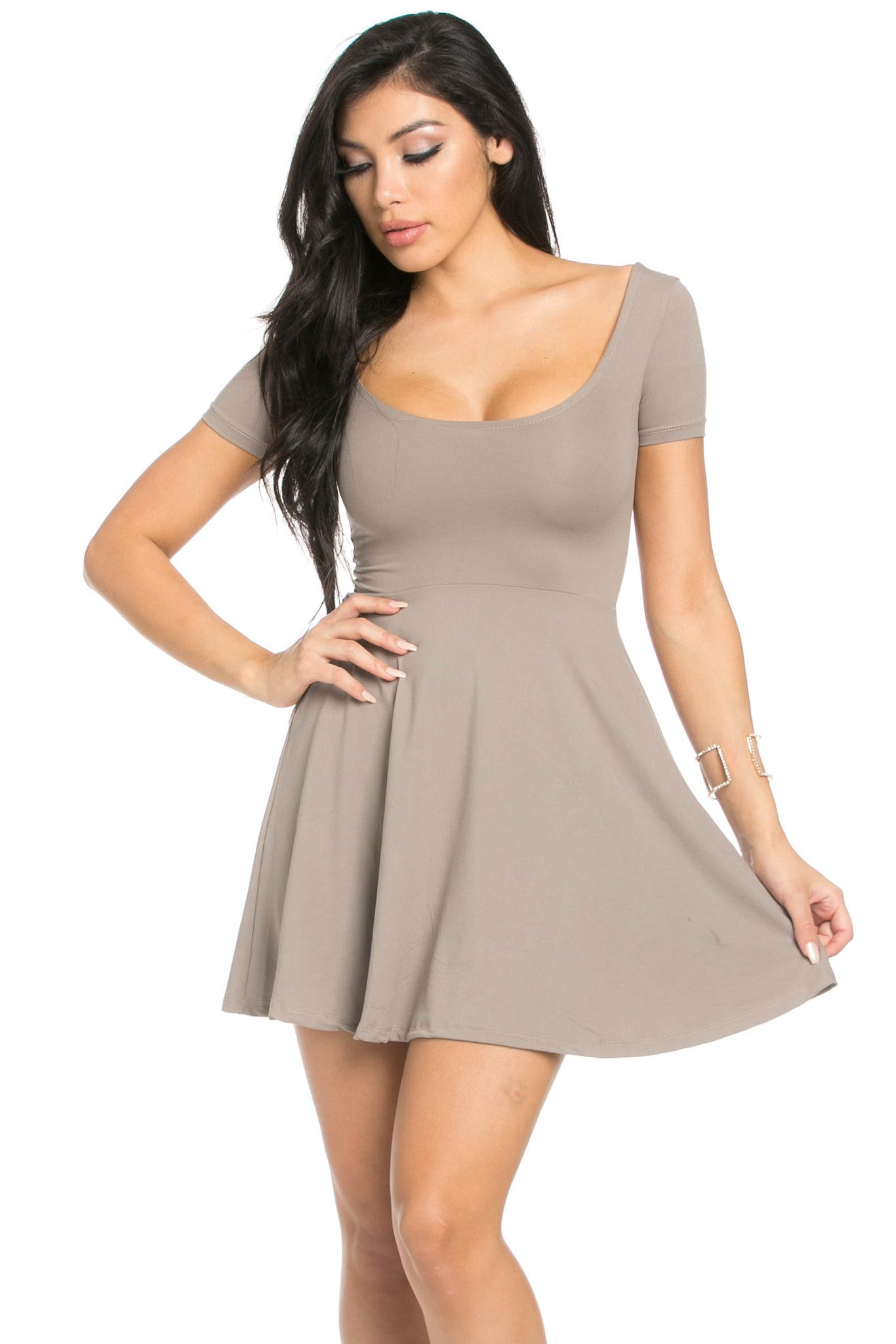 Micro Suede Taupe Mini Dress - Dresses - My Yuccie - 1
