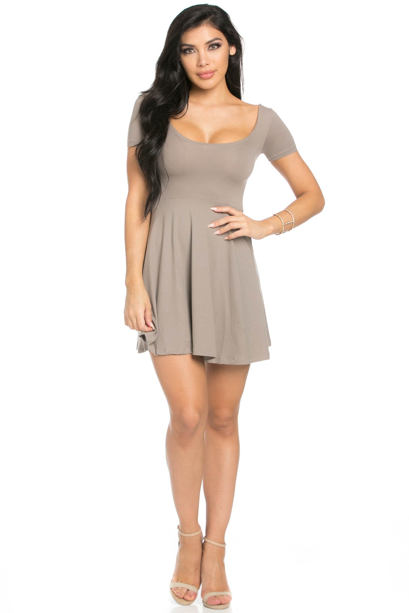 Micro Suede Taupe Mini Dress - Dresses - My Yuccie - 5