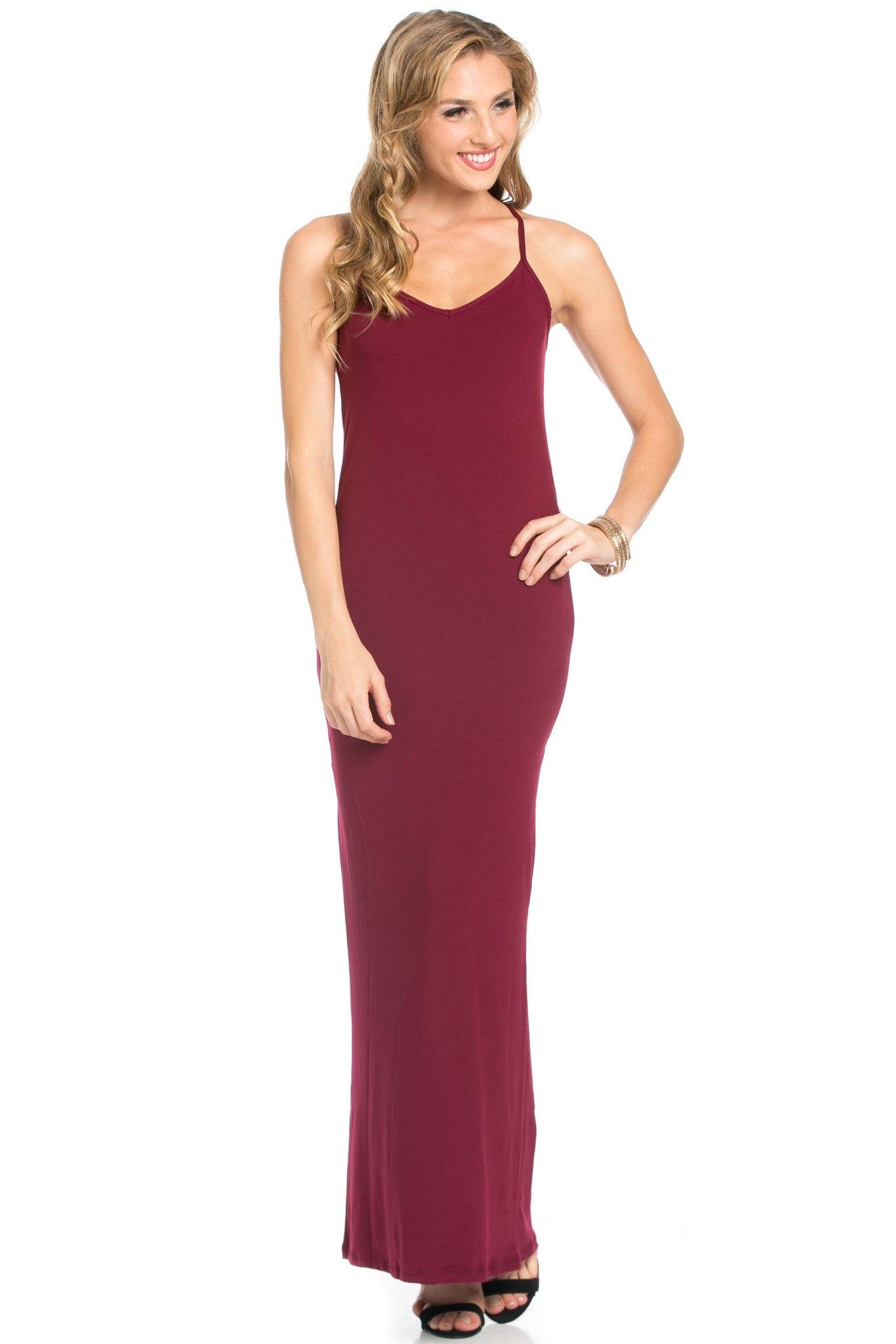 Micro Suede Burgundy Maxi Dress - Dresses - My Yuccie - 2