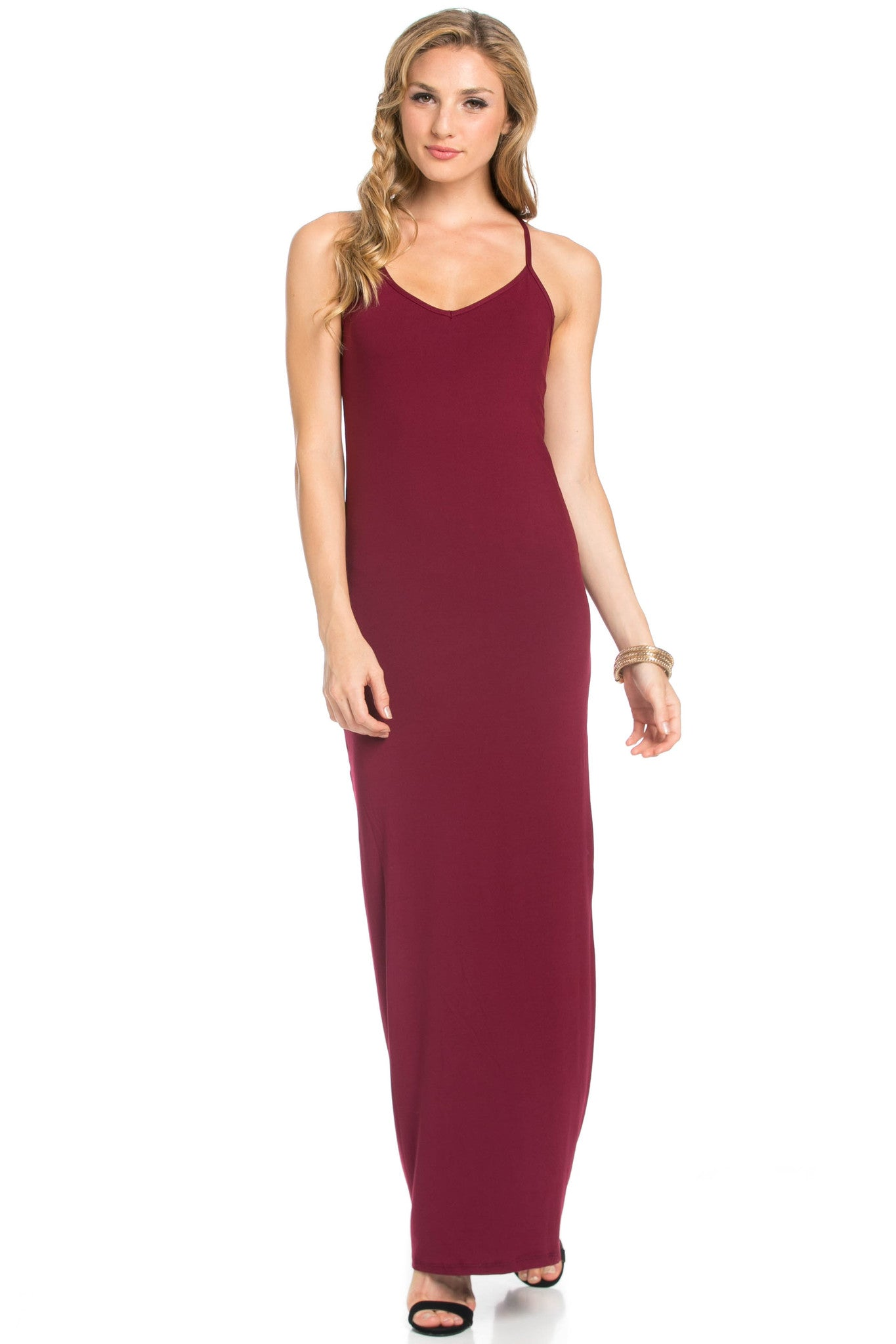 Micro Suede Burgundy Maxi Dress - Dresses - My Yuccie - 1