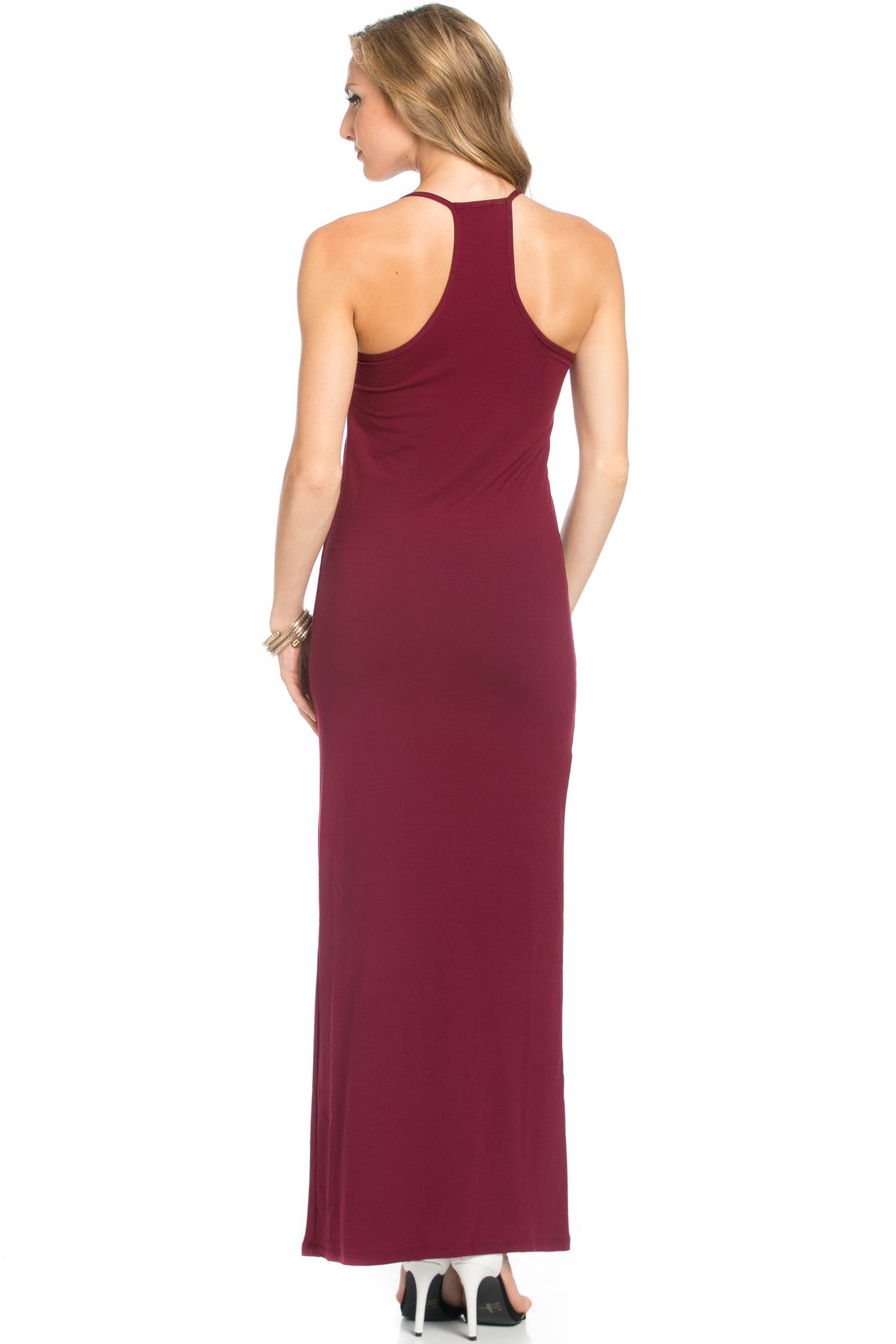 Micro Suede Burgundy Maxi Dress - Dresses - My Yuccie - 4