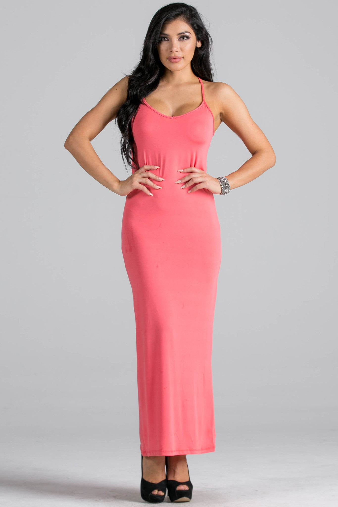 Micro Suede Coral Maxi Dress - Dresses - My Yuccie - 1