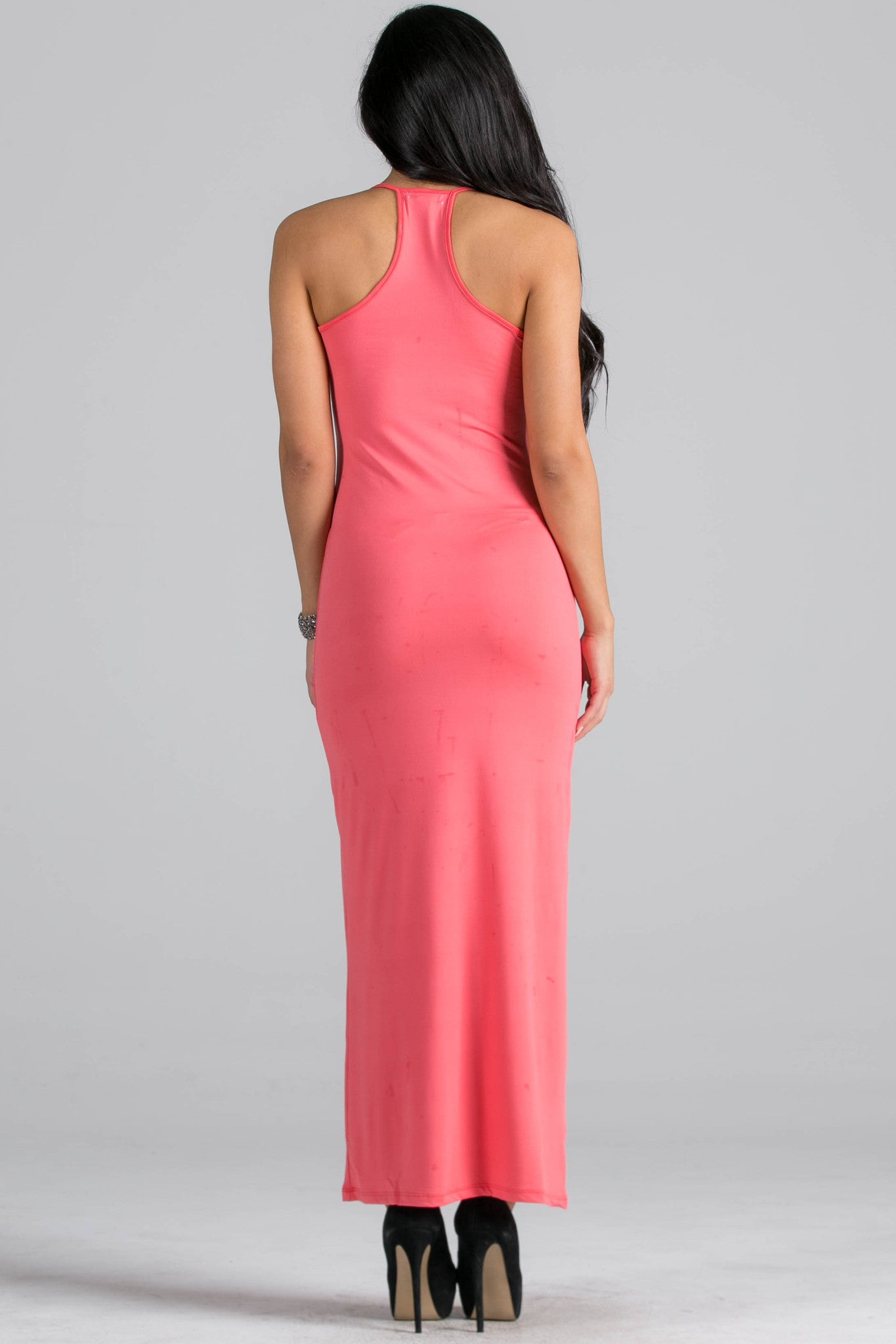 Micro Suede Coral Maxi Dress - Dresses - My Yuccie - 3