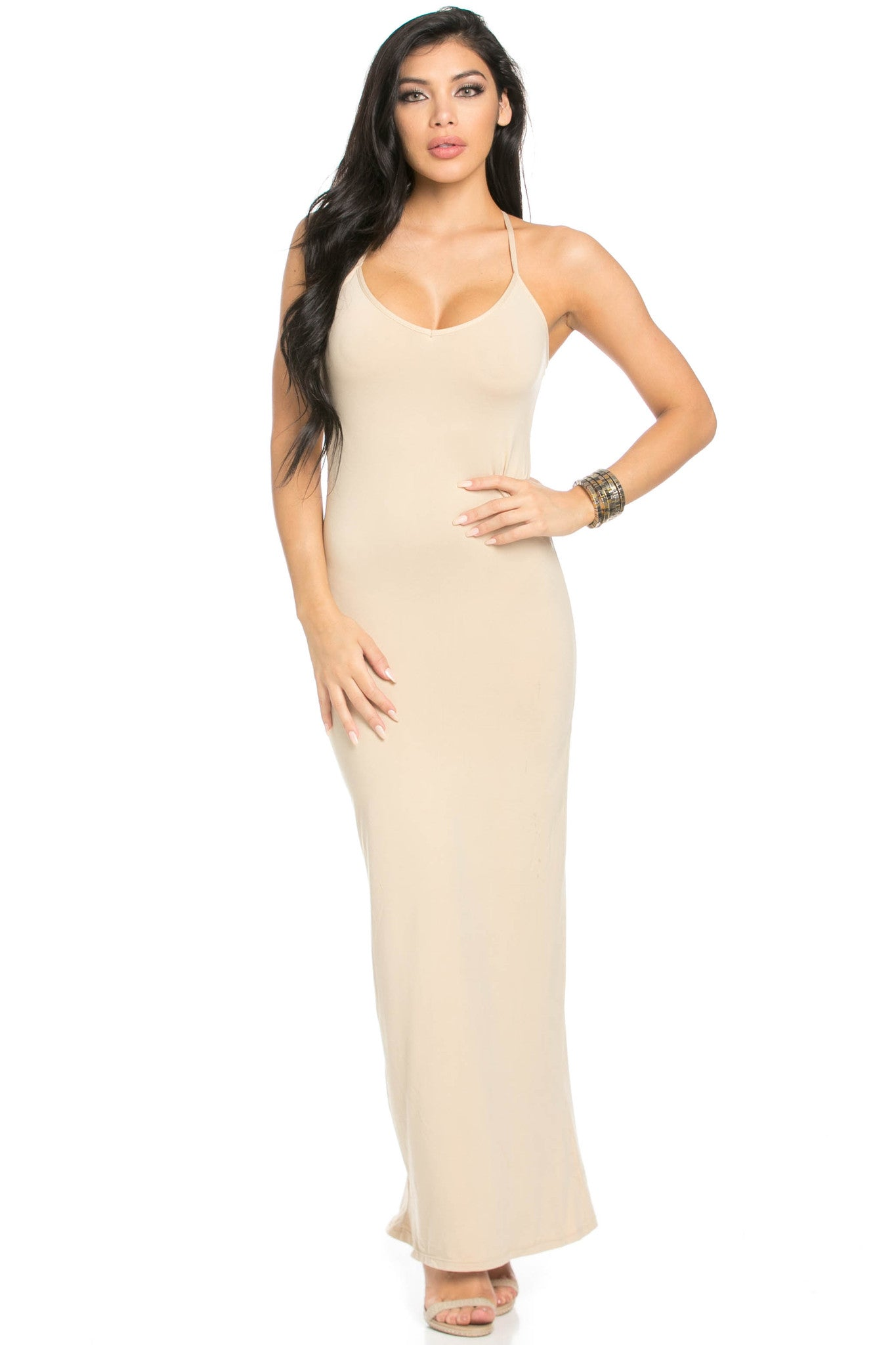 Micro Suede Khaki Maxi Dress - Dresses - My Yuccie - 3
