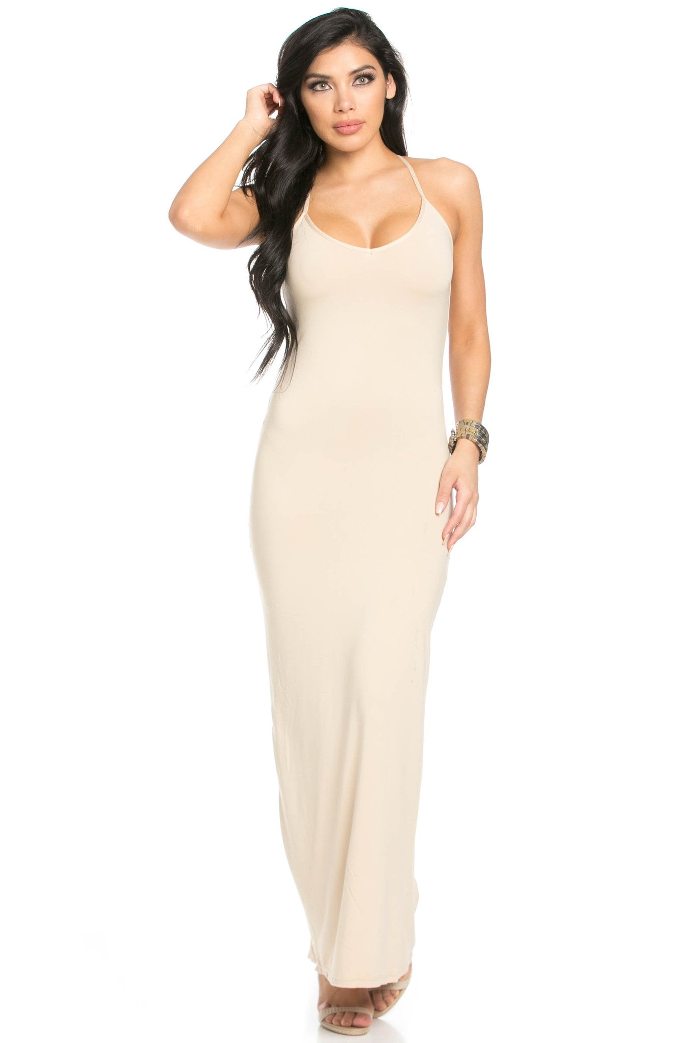 Micro Suede Khaki Maxi Dress - Dresses - My Yuccie - 4