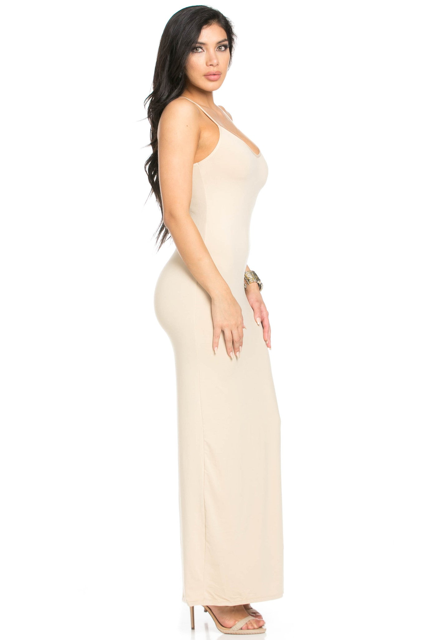 Micro Suede Khaki Maxi Dress - Dresses - My Yuccie - 5