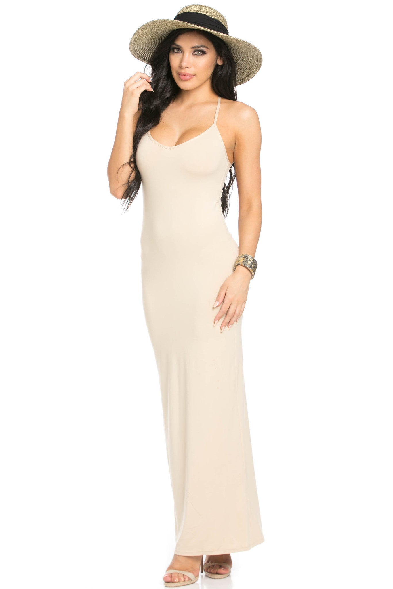 Micro Suede Khaki Maxi Dress - Dresses - My Yuccie - 1