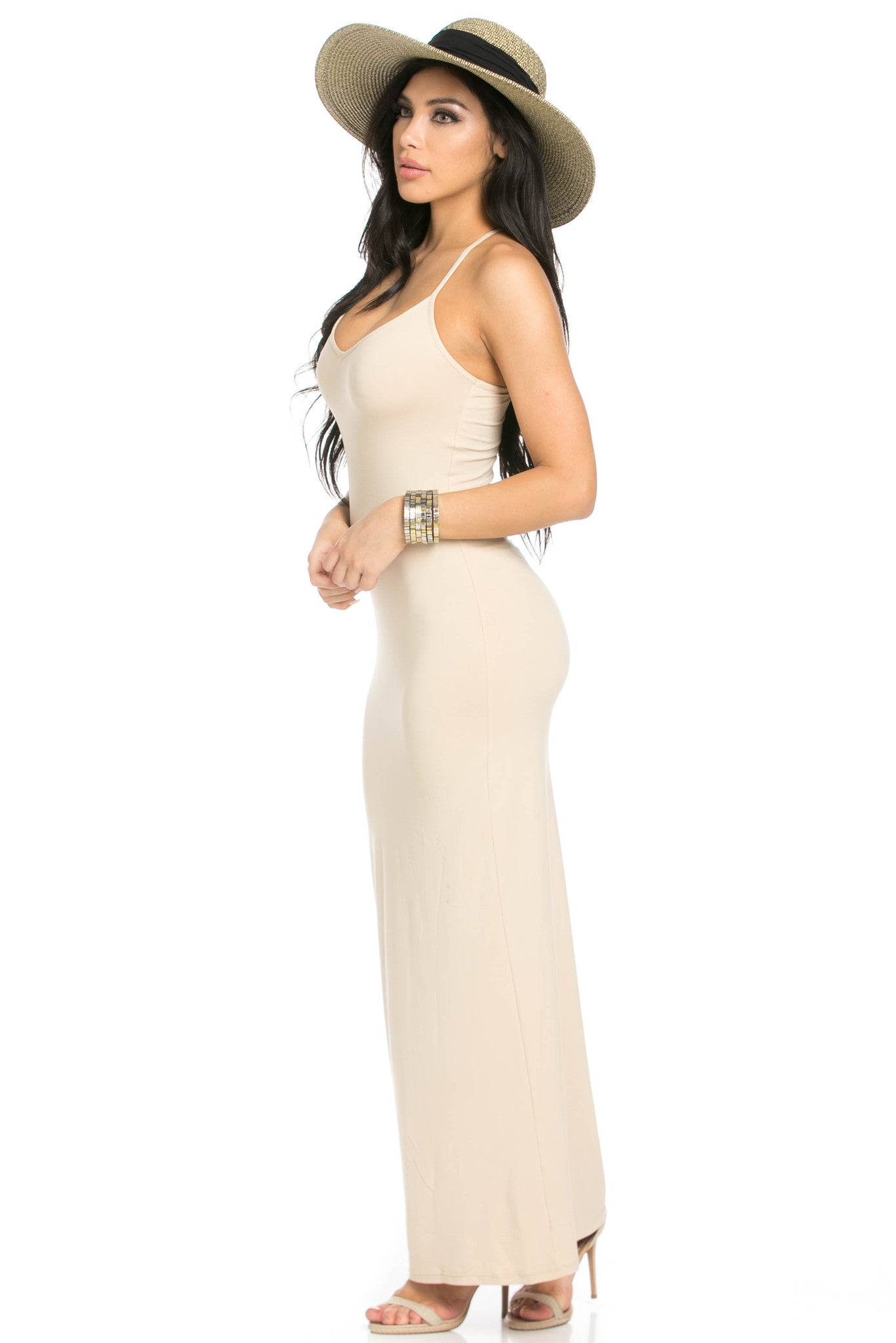 Micro Suede Khaki Maxi Dress - Dresses - My Yuccie - 2