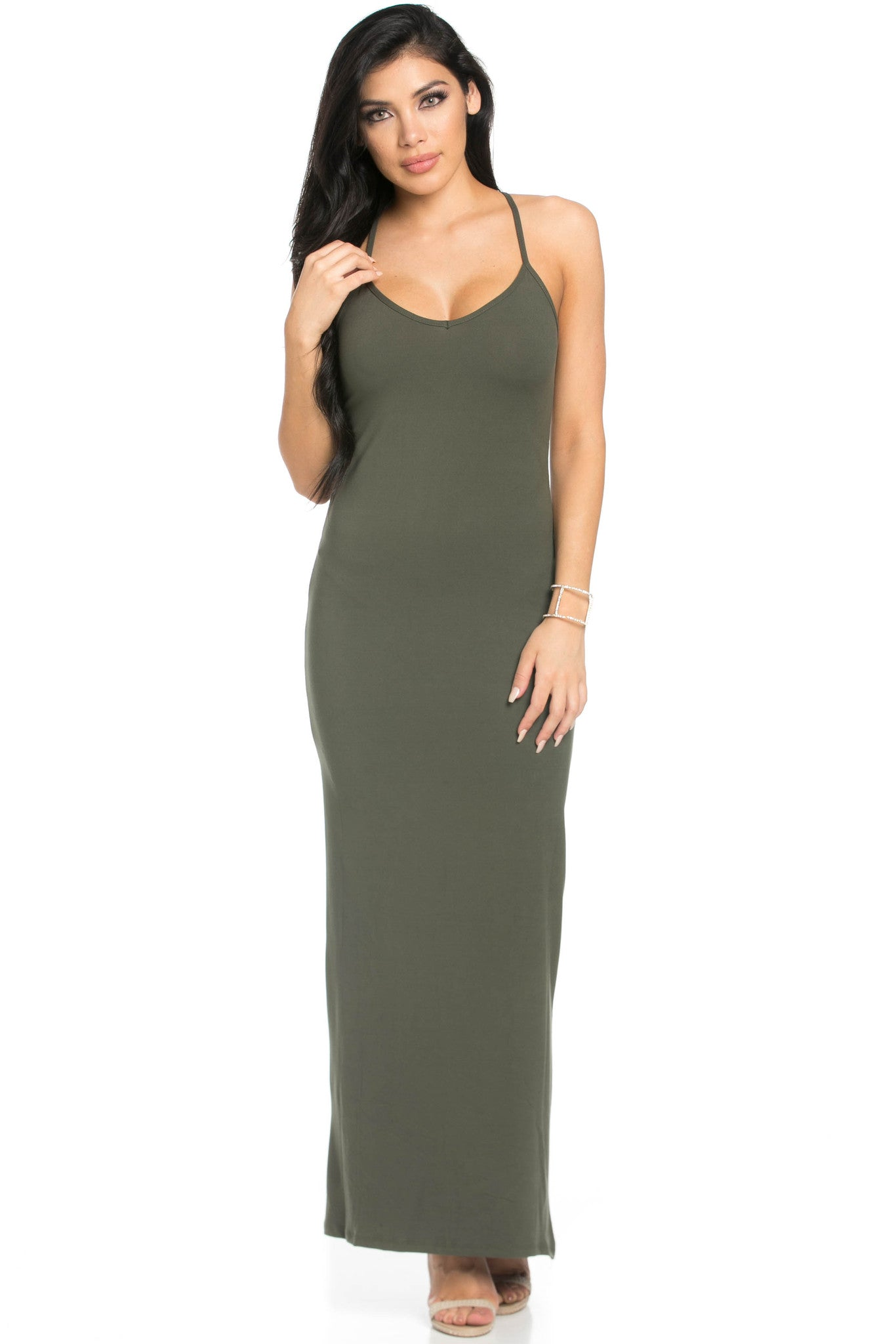 Micro Suede Olive Maxi Dress - Dresses - My Yuccie - 4
