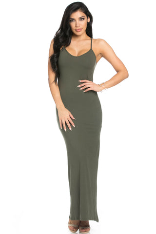 Micro Suede Olive Maxi Dress - Dresses - My Yuccie - 1