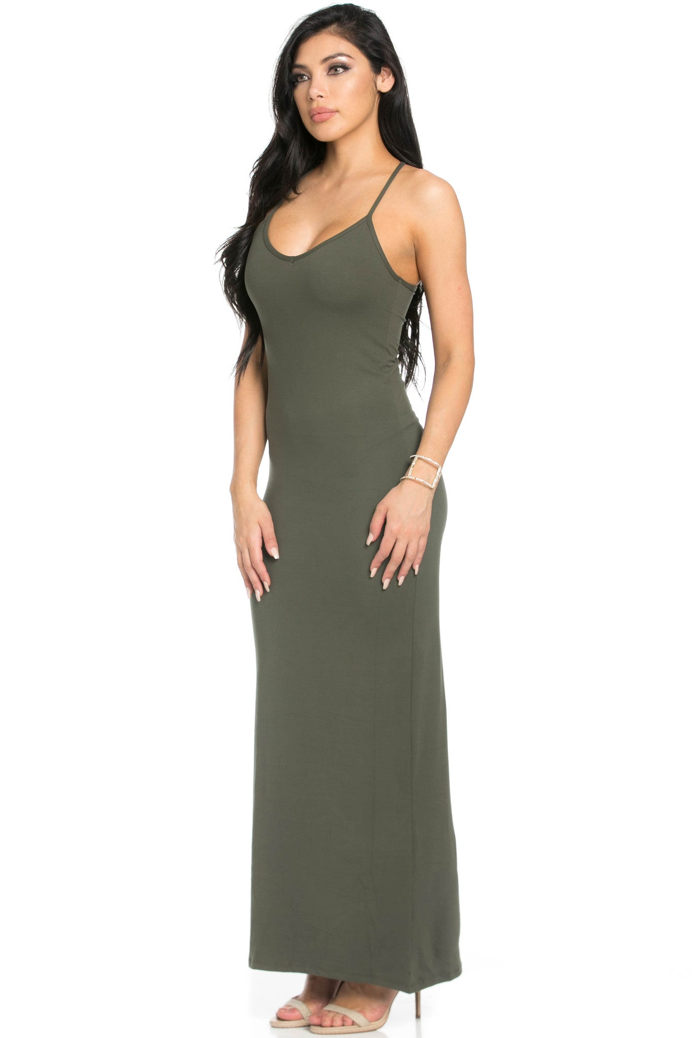 Micro Suede Olive Maxi Dress - Dresses - My Yuccie - 2