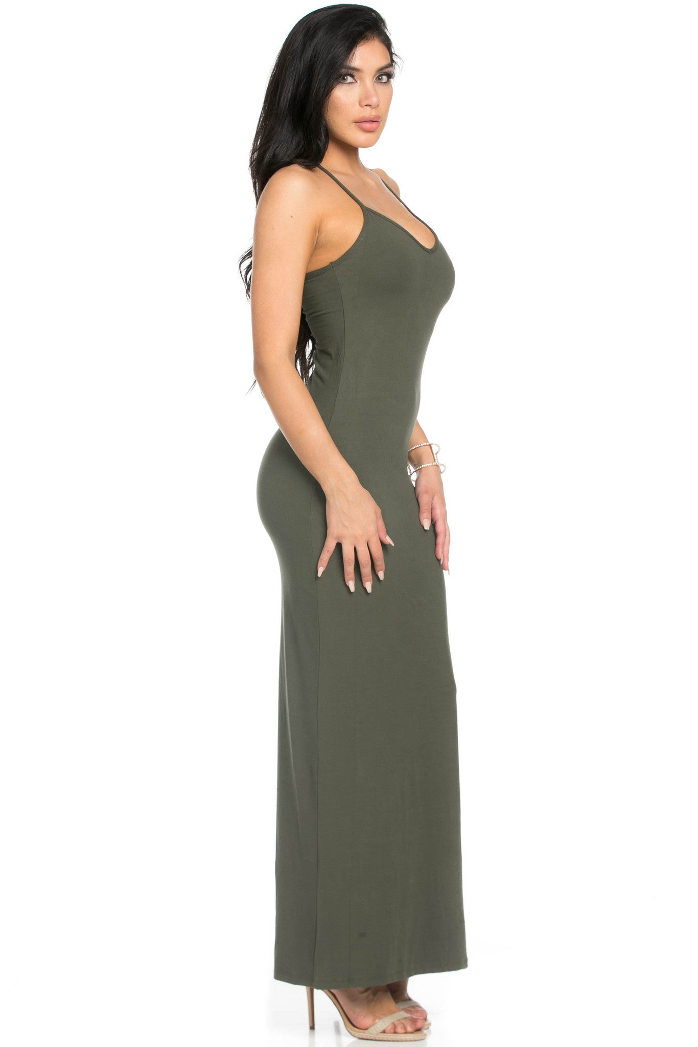 Micro Suede Olive Maxi Dress - Dresses - My Yuccie - 5