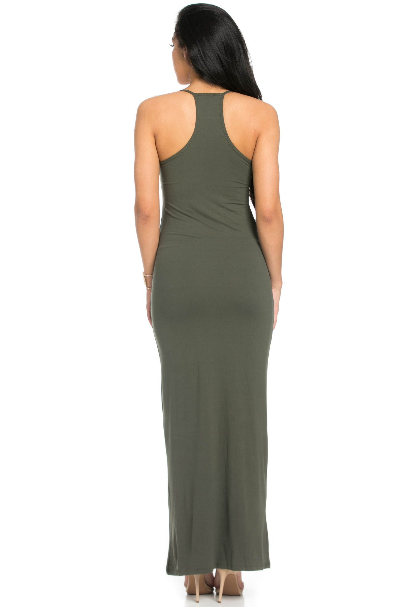 Micro Suede Olive Maxi Dress - Dresses - My Yuccie - 3