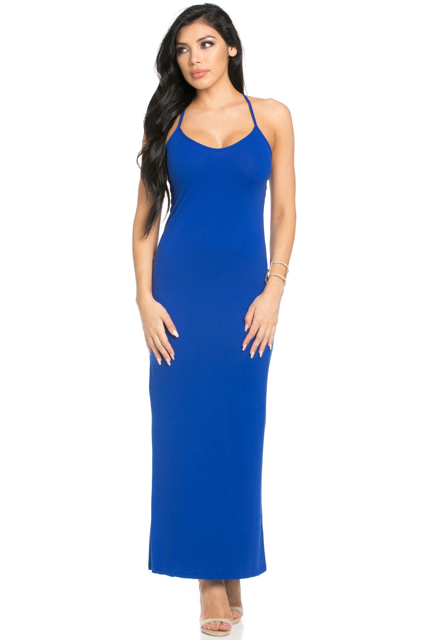 Micro Suede Royal Blue Maxi Dress - Dresses - My Yuccie - 4
