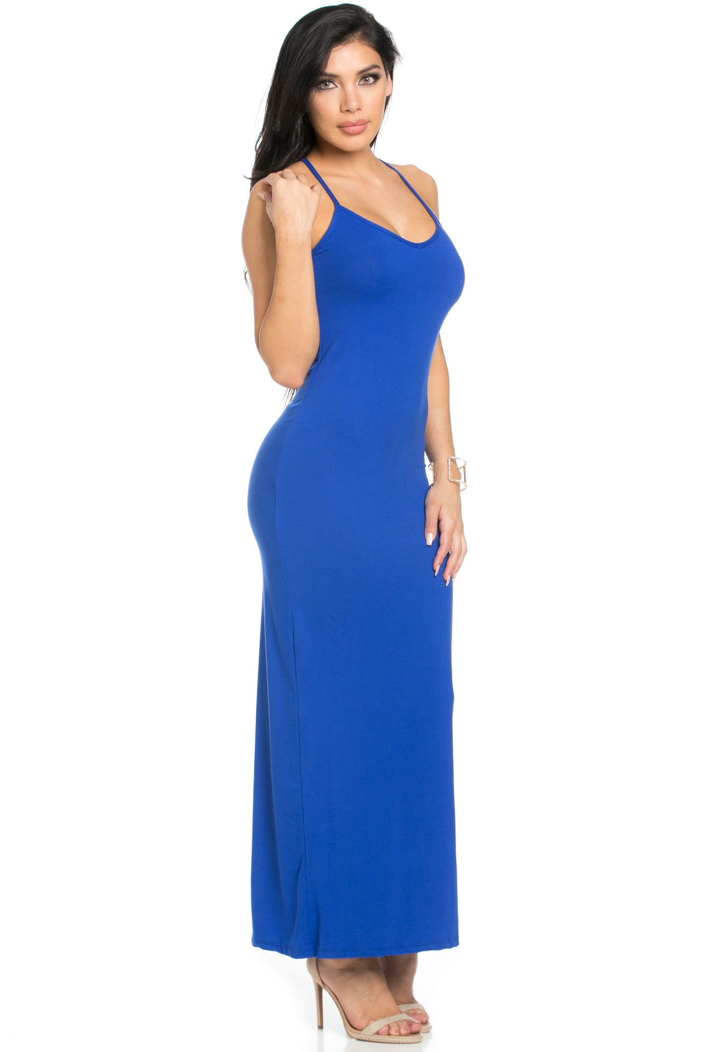 Micro Suede Royal Blue Maxi Dress - Dresses - My Yuccie - 5