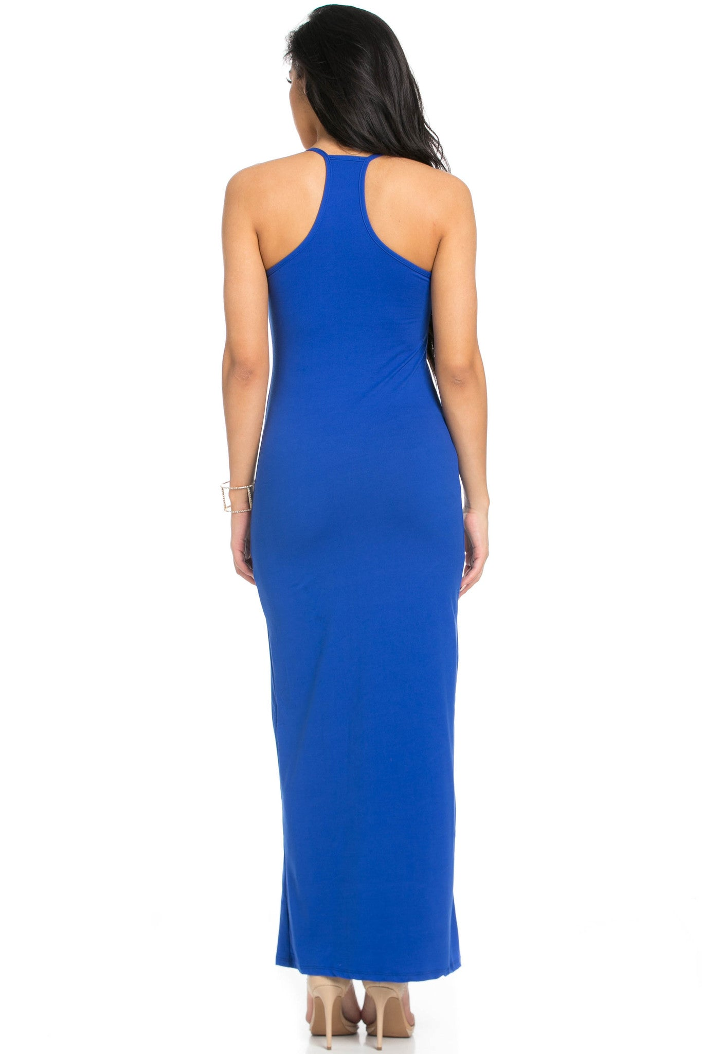 Micro Suede Royal Blue Maxi Dress - Dresses - My Yuccie - 3