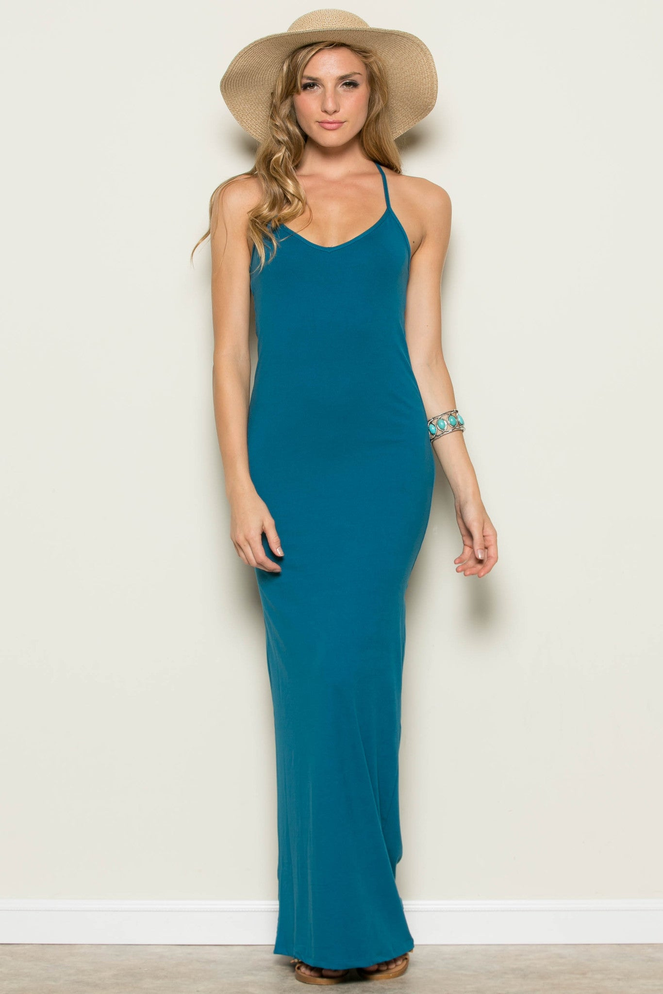Micro Suede Teal Maxi Dress - Dresses - My Yuccie - 2