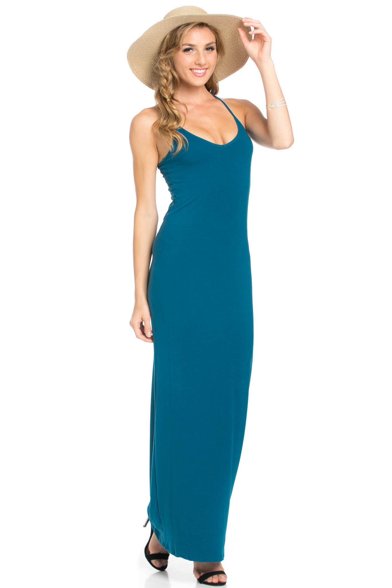 Micro Suede Teal Maxi Dress - Dresses - My Yuccie - 10
