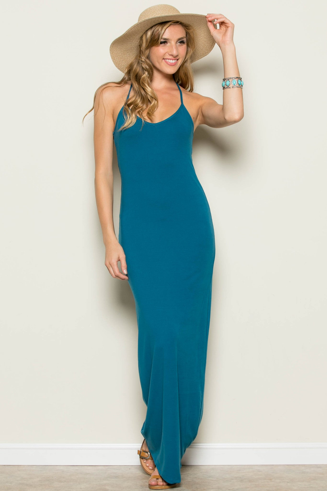 Micro Suede Teal Maxi Dress - Dresses - My Yuccie - 3