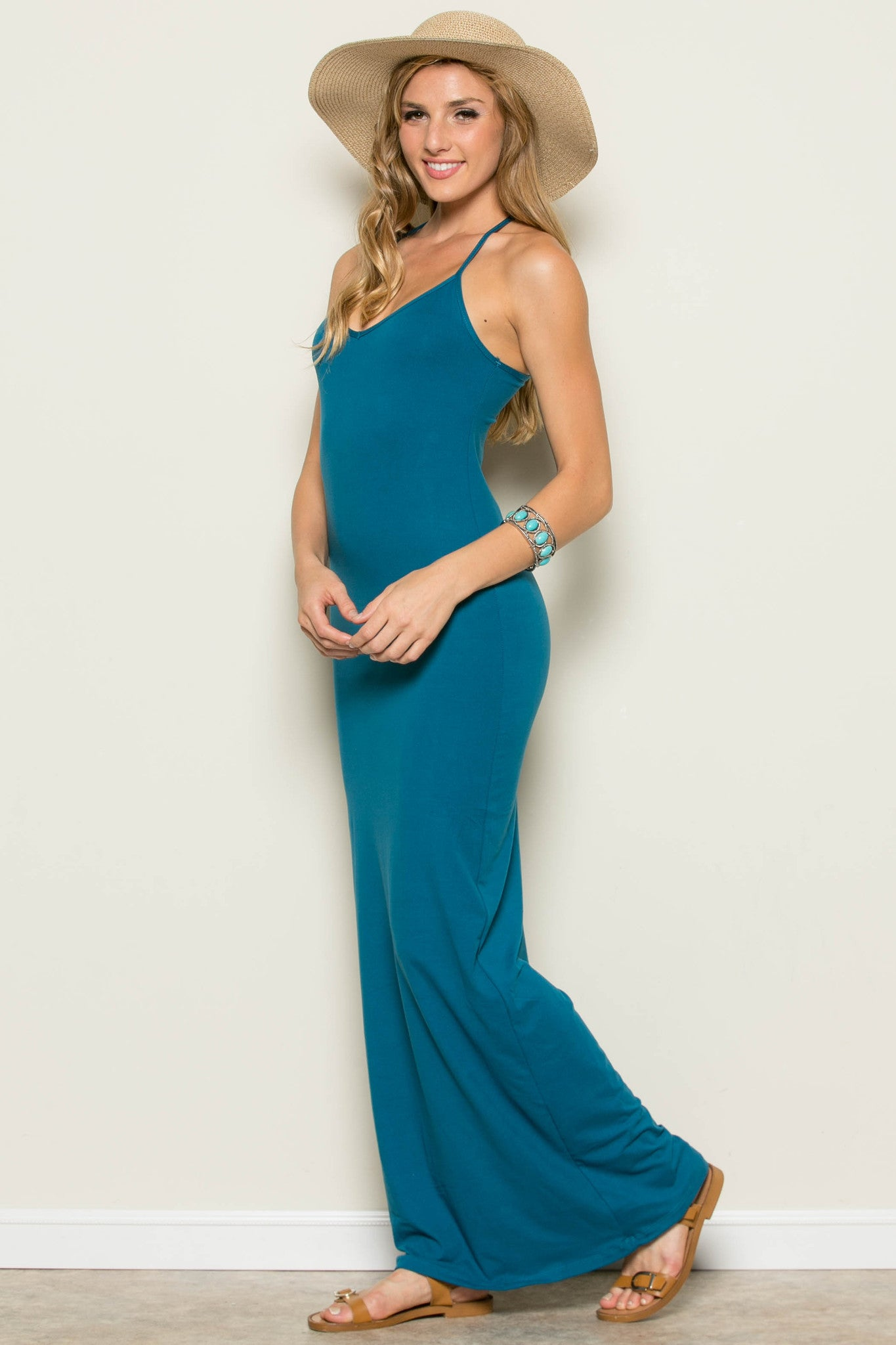 Micro Suede Teal Maxi Dress - Dresses - My Yuccie - 5