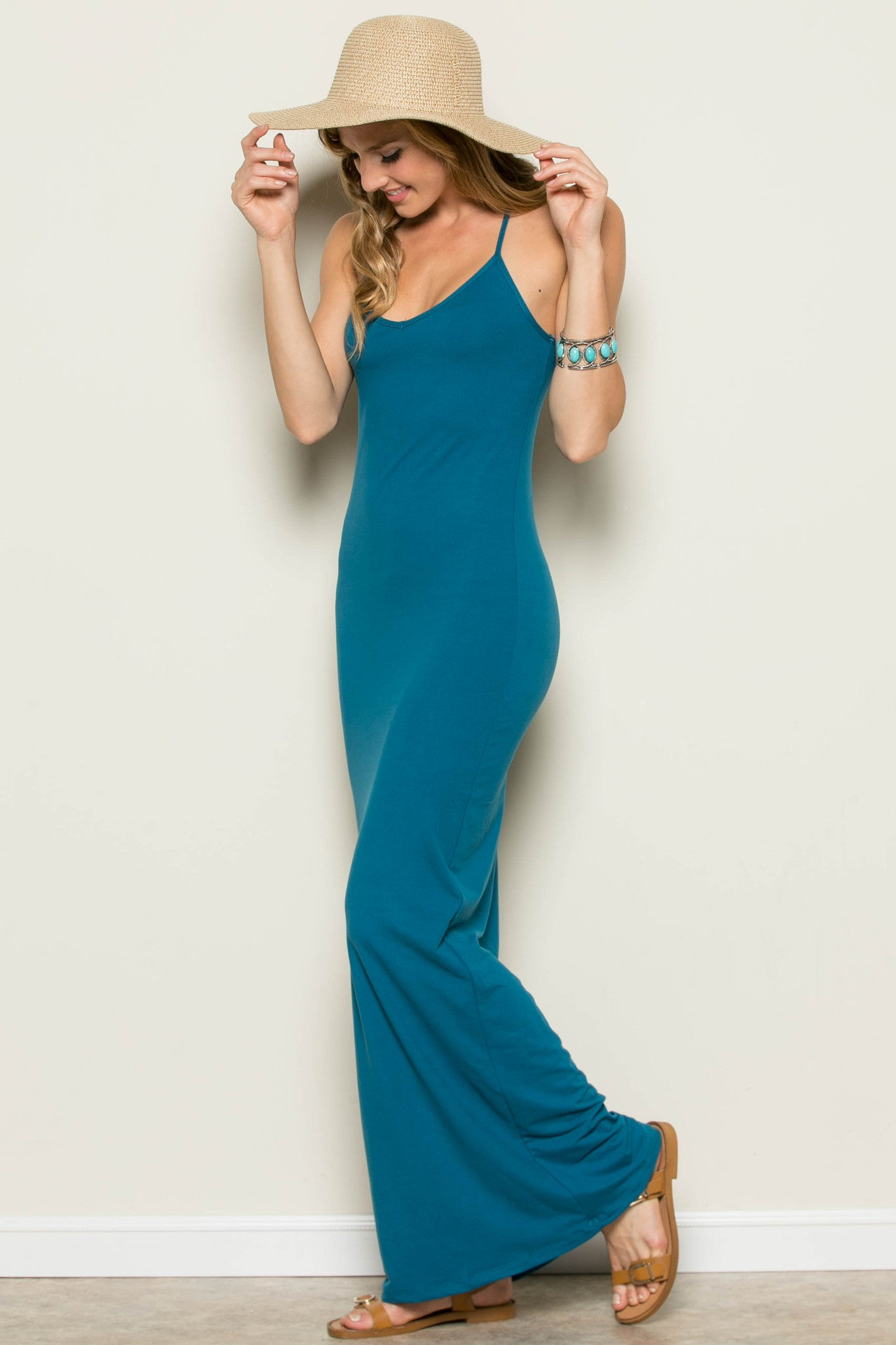 Micro Suede Teal Maxi Dress - Dresses - My Yuccie - 1