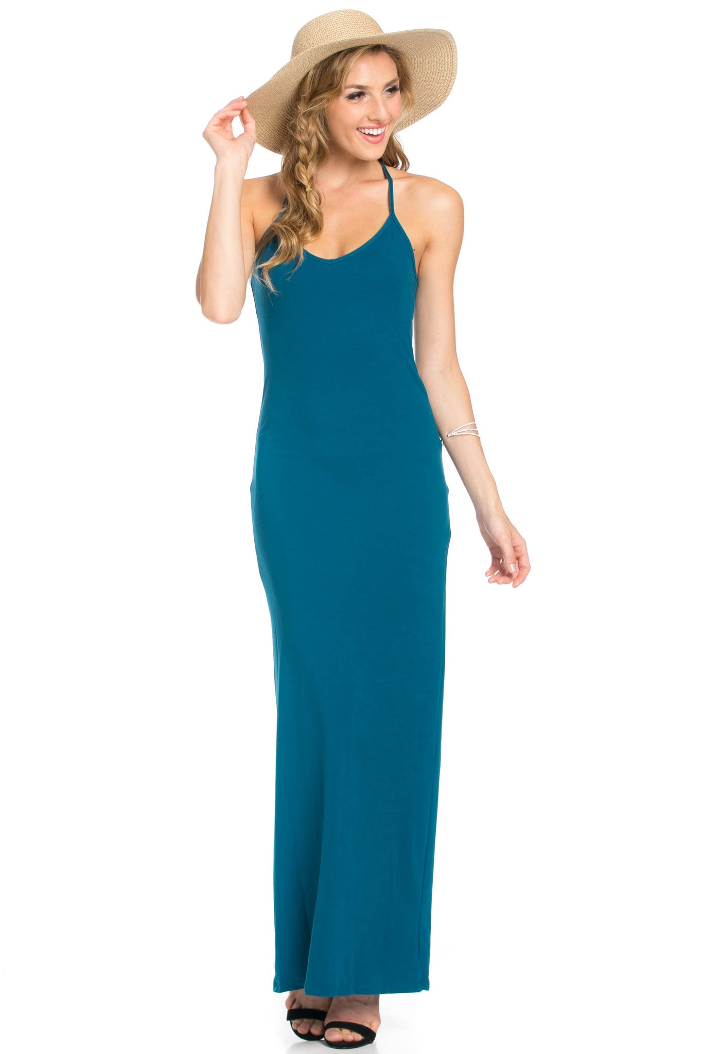 Micro Suede Teal Maxi Dress - Dresses - My Yuccie - 7
