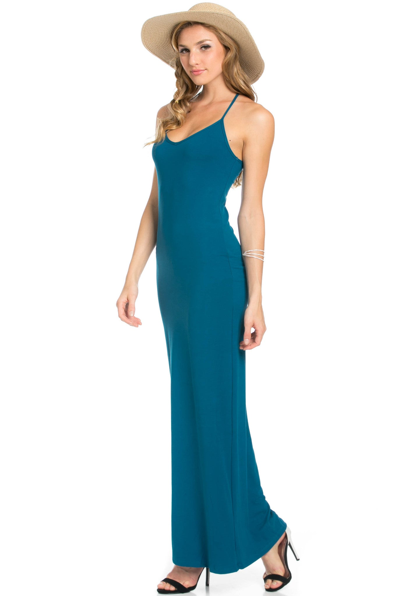 Micro Suede Teal Maxi Dress - Dresses - My Yuccie - 8