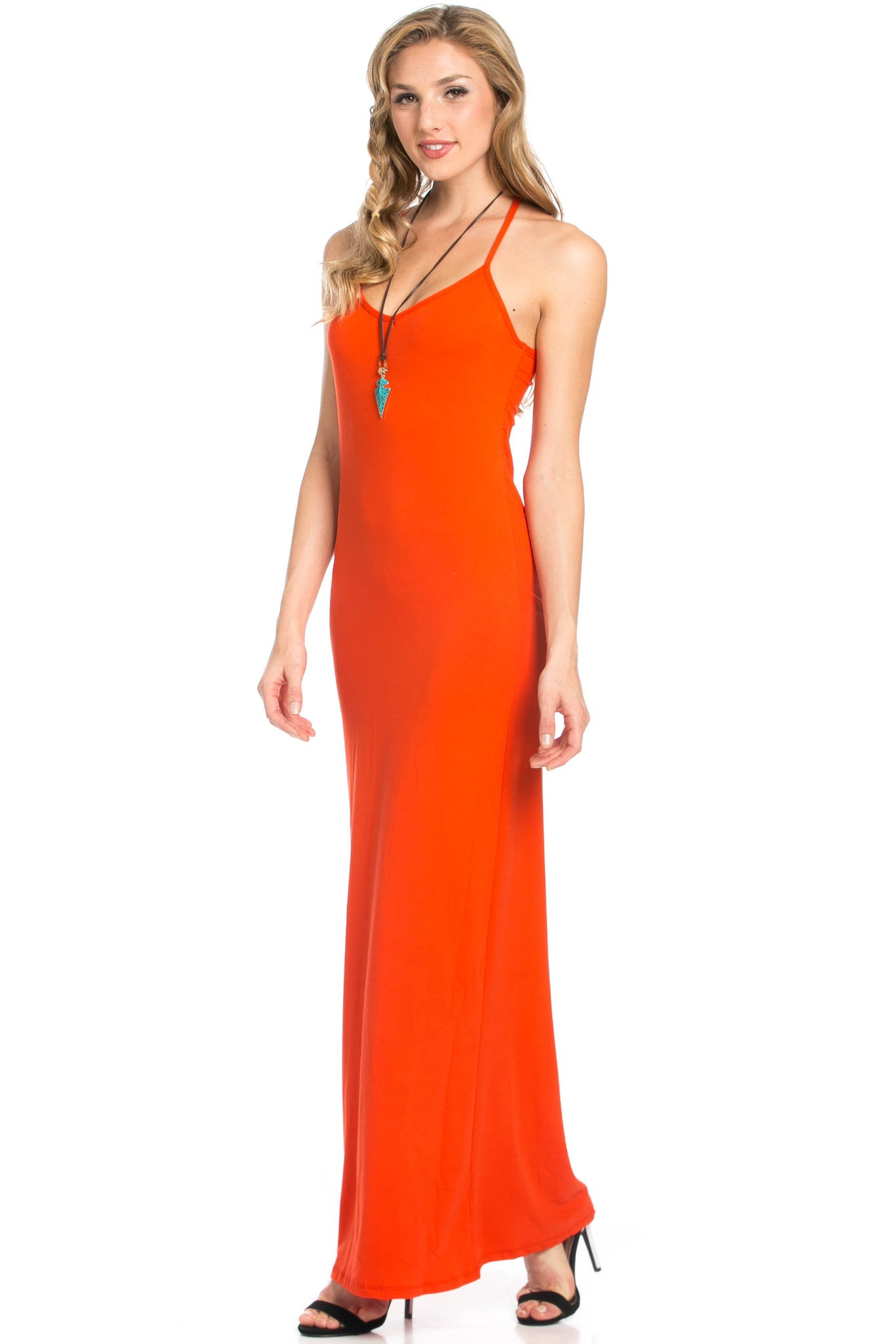 Micro Suede Tomato Maxi Dress - Dresses - My Yuccie - 1