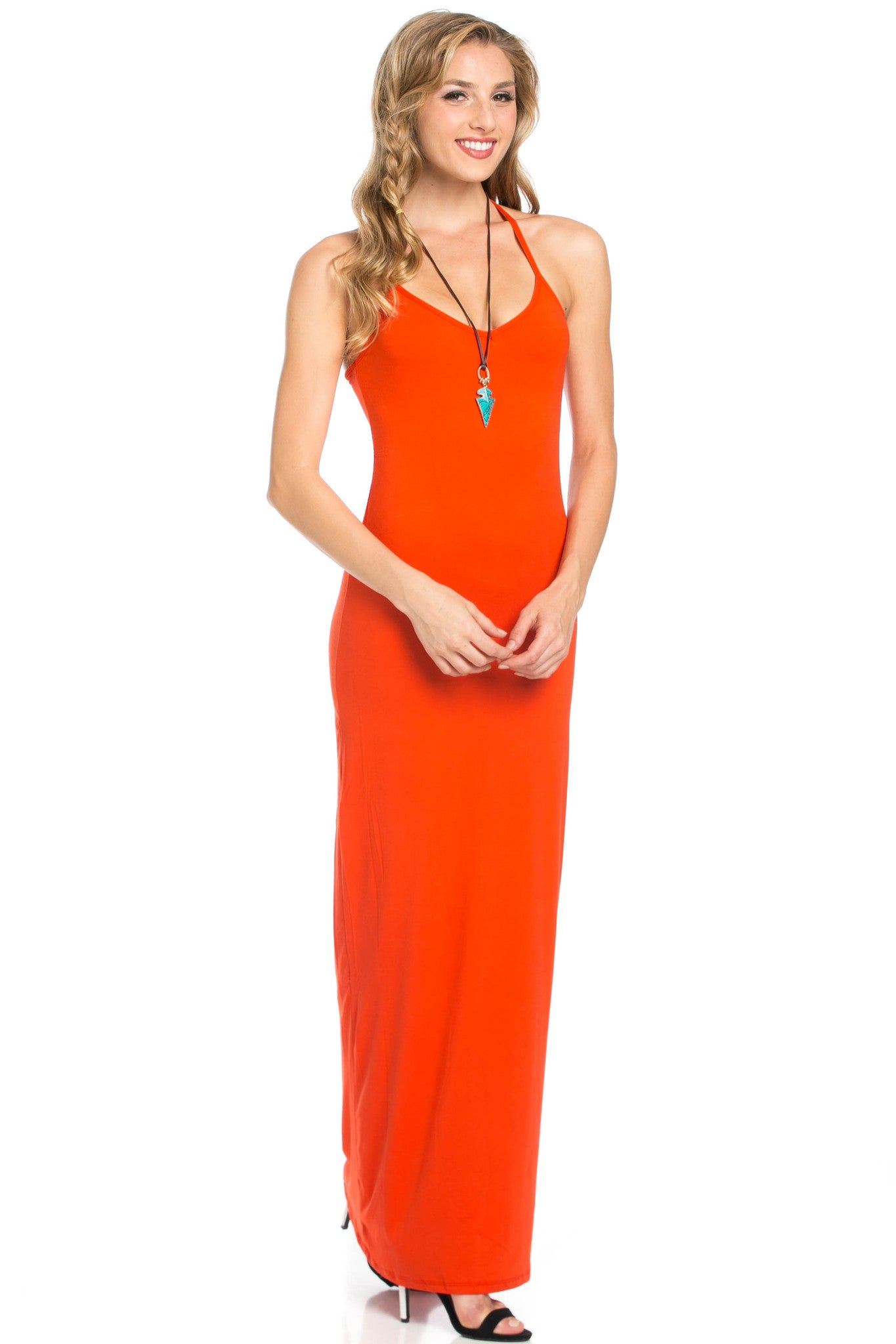 Micro Suede Tomato Maxi Dress - Dresses - My Yuccie - 2