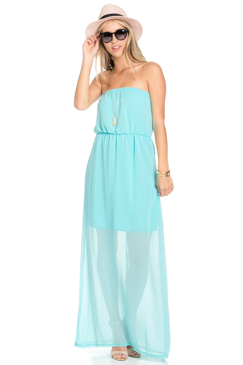 Mint Tube Maxi Dress - Dresses - My Yuccie - 1