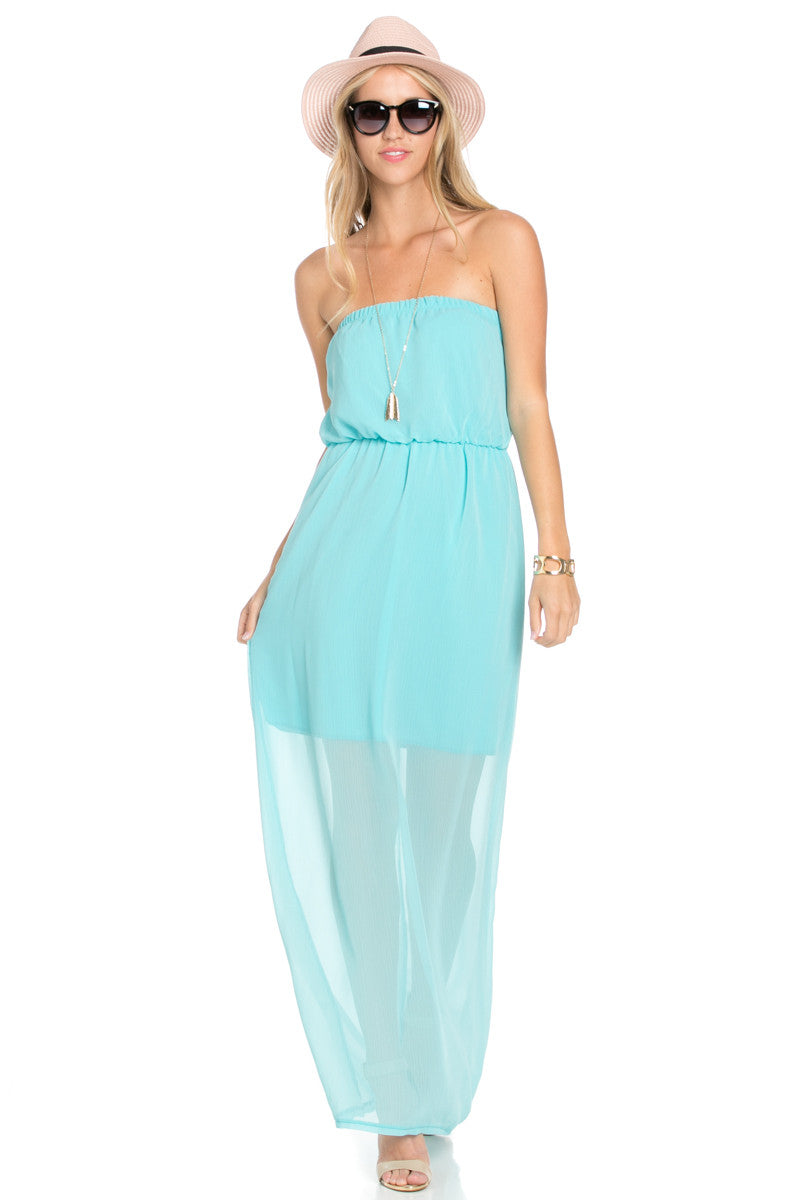 Mint Tube Maxi Dress - Dresses - My Yuccie - 4