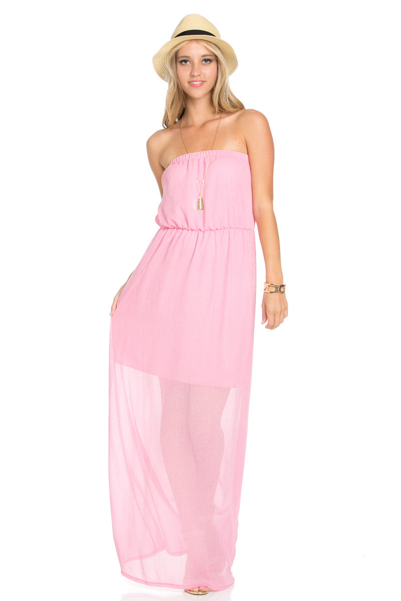 Pink Tube Maxi Dress - Dresses - My Yuccie - 2