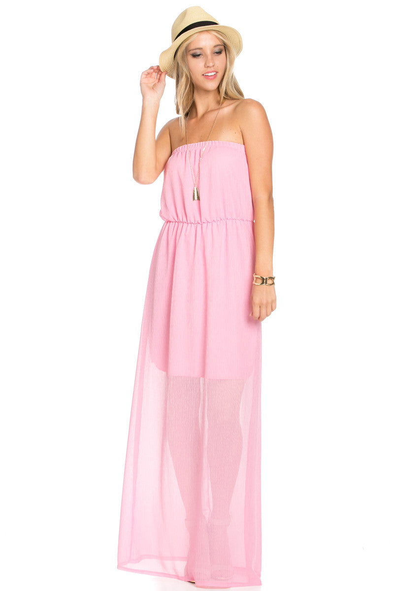 Pink Tube Maxi Dress - Dresses - My Yuccie - 1