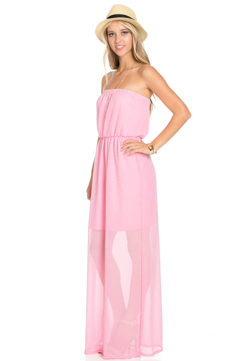 Pink Tube Maxi Dress - Dresses - My Yuccie - 3