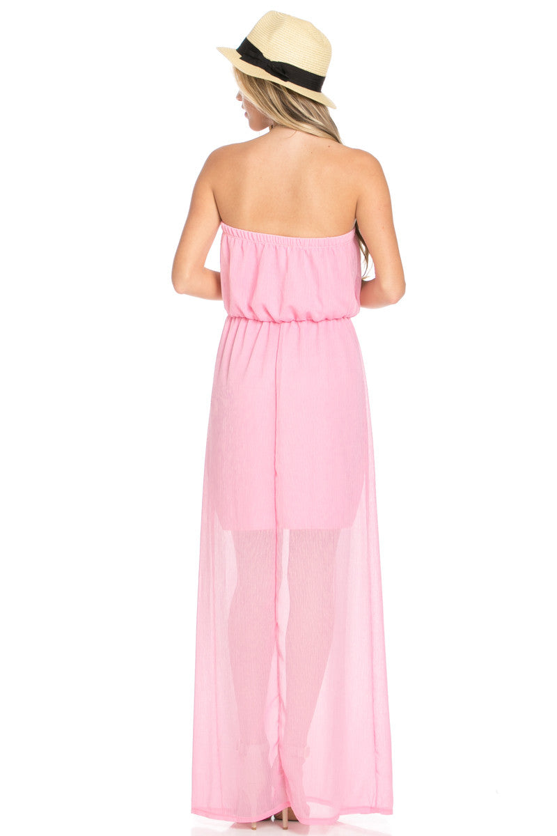 Pink Tube Maxi Dress - Dresses - My Yuccie - 4