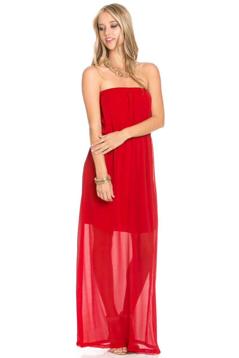 Red Tube Maxi Dress - Dresses - My Yuccie - 1
