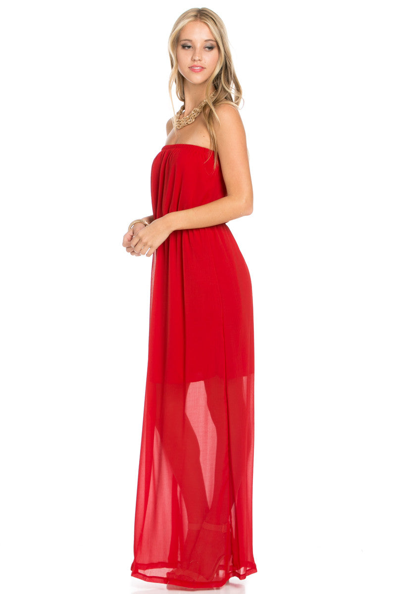 Red Tube Maxi Dress - Dresses - My Yuccie - 2