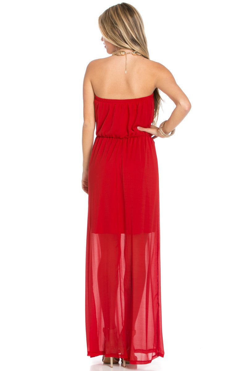Red Tube Maxi Dress - Dresses - My Yuccie - 3