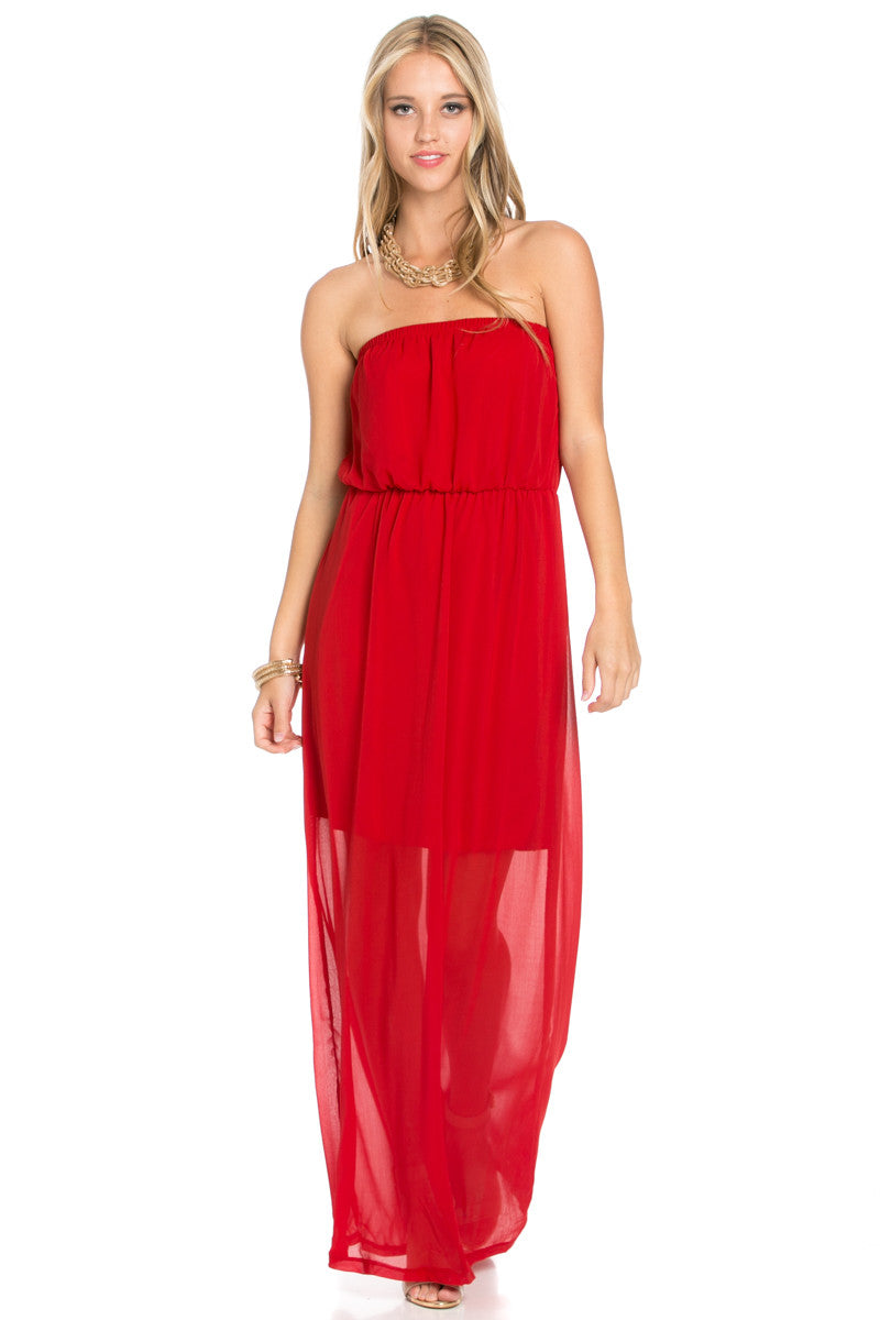 Red Tube Maxi Dress - Dresses - My Yuccie - 4
